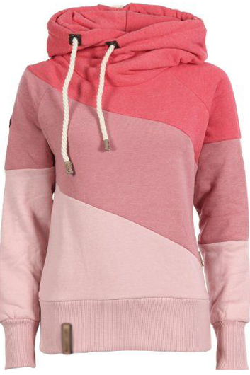 Fashion Long Sleeve Color Block Hooded Sweats (2 Colors)