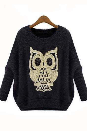 Fashion Owl Print Long Sleeve Round Neck Sweaters for Woman