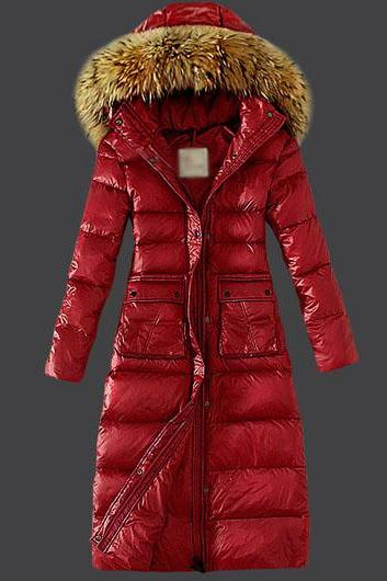 High Quality Hooded Collar Pocket Design Cotton Padded Coat - Red