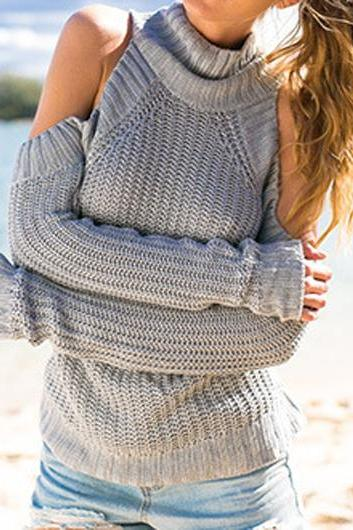 Sexy Long Sleeve Grey Cold Shoulder Loose Sweater