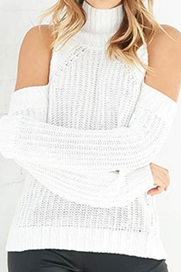 Long Sleeve Cut Out Shoulder Sweater - White