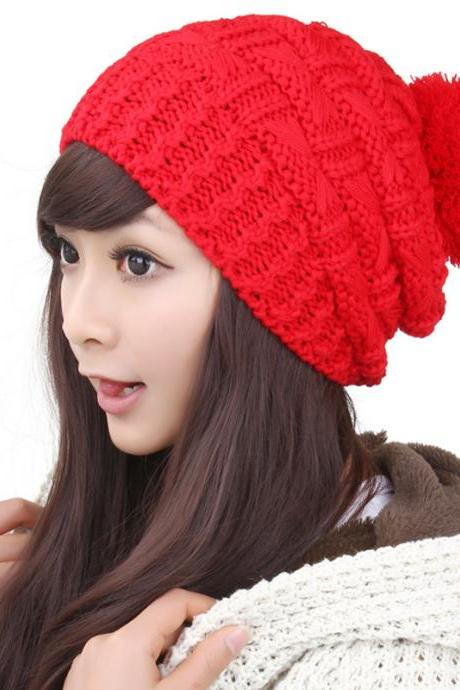 Free shipping Fshion Solid Knitted Winter Hat For Women - Red