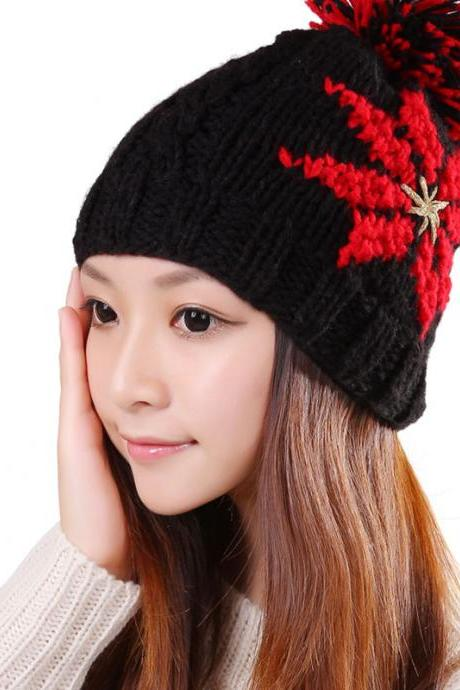 Free shipping New Knitted Winter Hat For Women - Black