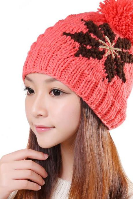 Free shipping New Knitted Winter Hat For Women - Watermelon Red