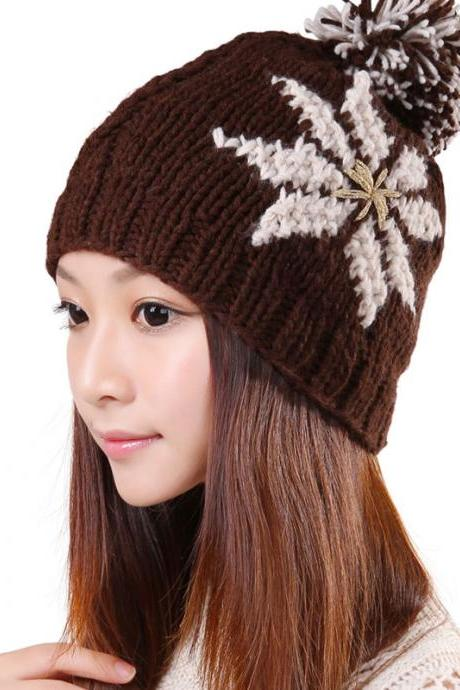 Free shipping New Knitted Winter Hat For Women - Coffee