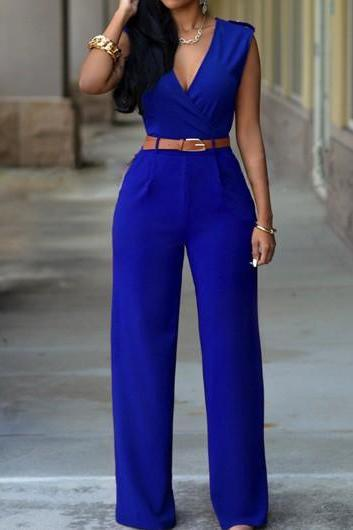 Sexy Pocket Design Sleeveless Jumpsuit - Royal Blue