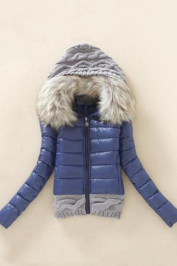 Fashion New Knitting Wool Splicing Hooded Winter Coat - Navy Blue