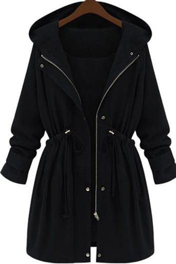 Casual Elastic Waist Hooded Trench Coat - Black