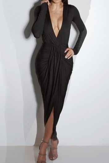 Sexy V Neck Long Sleeve Ruched Maxi Dress (3 Colors)