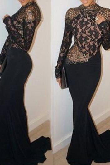 Sexy Open Back Lace Splicing Black Maxi Dress