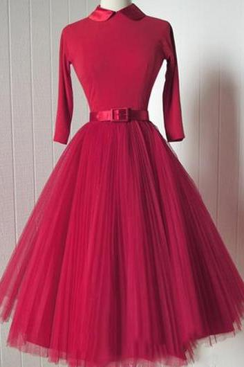 Fashion Peter Pan Collar Red Belted A Line Dress