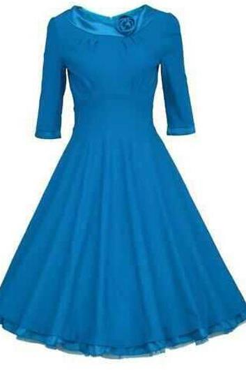 Fashion Peter Pan Collar Belted A Line Dress - Blue