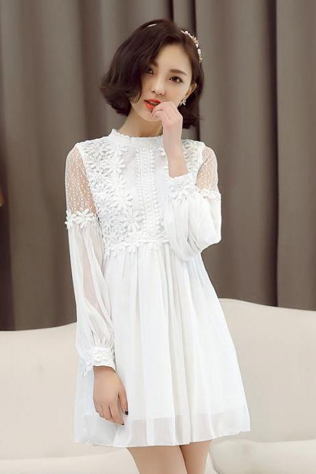 Luxury Long Sleeve White Chiffon Dress