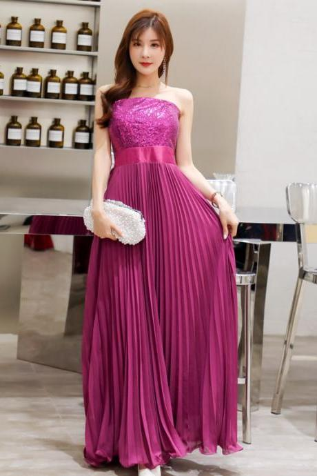 Charming Strapless Purple Long Party Dress with Sequin