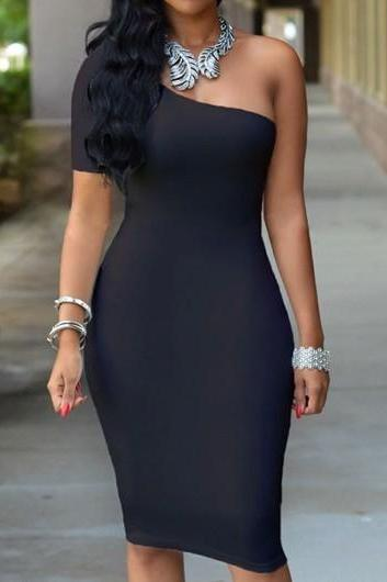 Sexy Open Back Black One Shoulder Knee Length Dress (3 Colors)