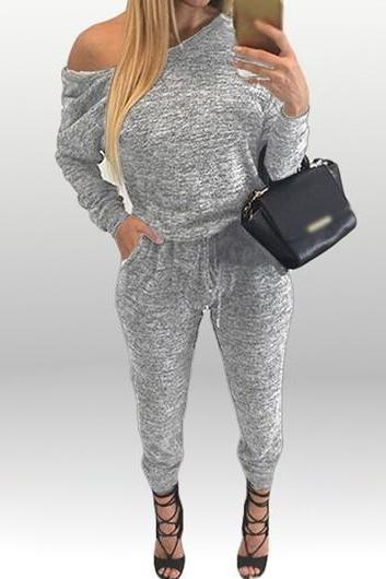 Sexy Skew Neck Drawstring Waist Jumpsuits - Light Grey