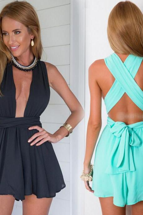 Sexy Deep V Neck Open Back Rompers