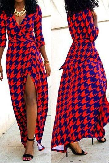 Sexy Red Houndstooth Print V Neck Maxi Dress