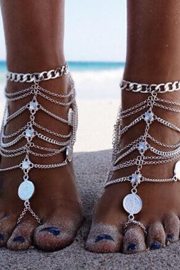 Hot Sale Coin Decorated Silver Multilayered Metal Anklet