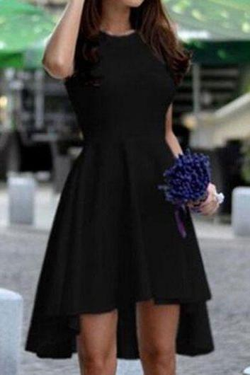Free Shipping Casual Round Neck High Low Dress - Black