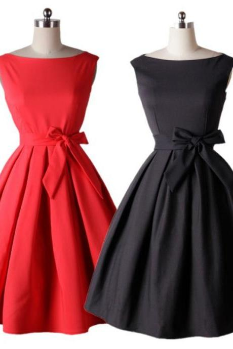 Free Shipping Elegant Sleeveless Bow Round Neck A Line Dress (2 Colors)