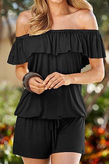 Black Drawstring Waist Short Sleeve Romper