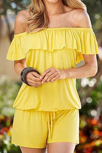 Women Yellow Off Shoulder Drawstring Waist Short Sleeve Romper