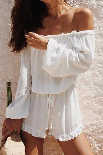 Women White Long Sleeve Off the Shoulder Ruffled Romper