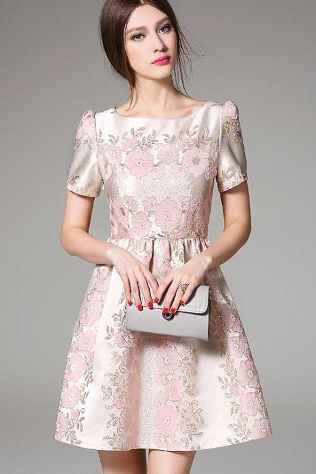 Luxury High Quality Jacquard Short Sleeve Dress