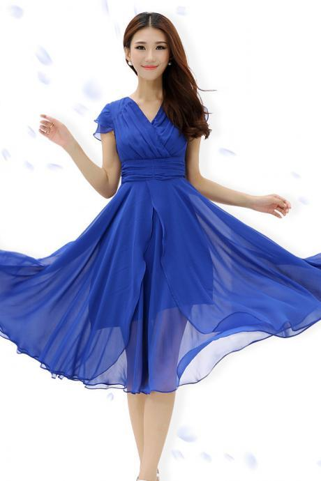 Fashion Layered High Waist Deep Chiffon Wrap Dress - Blue