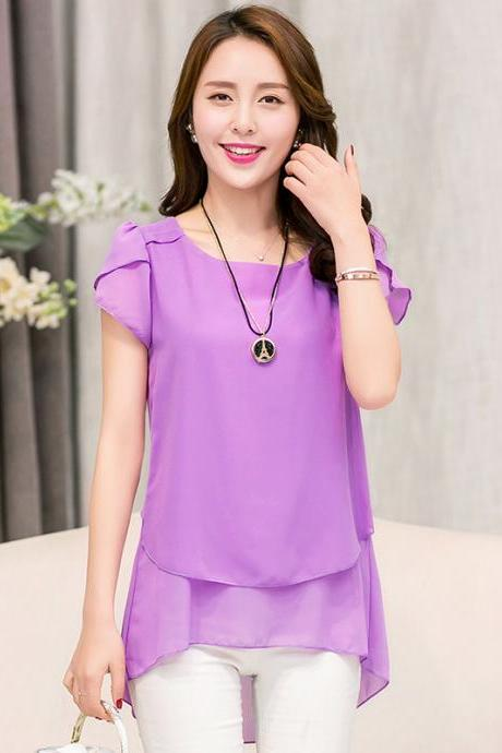 Fashion Short Sleeve Chiffon Blouse