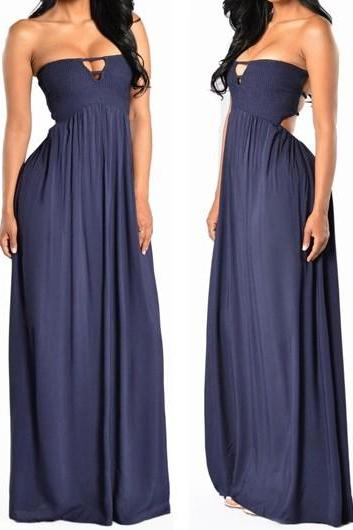 Free shipping Sexy Strapless Solid Navy Blue Maxi Dress