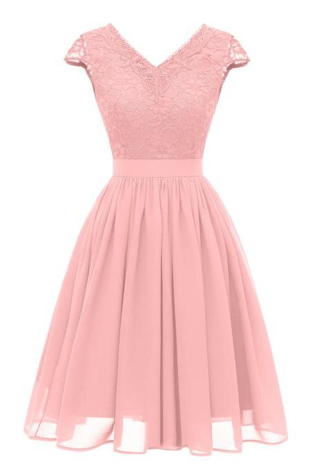 V Neck Short Sleeve Lace Chiffon Dress - Pink