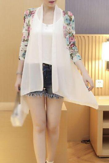 Casual Long Sleeve Flower Print White Kimono