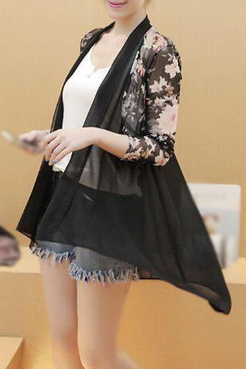 Casual Long Sleeve Flower Print Kimono - Black