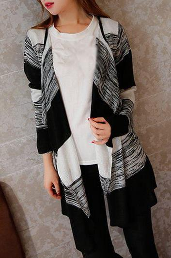 Casual Color Block Long Sleeve Cardigan - Black