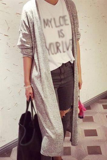 Casual Collarless Long Sleeve Solid Grey Cardigan