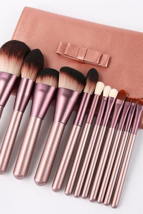 High Quality Goat Hair Makeup 12 PCs Brushes Cosmetic Make Up Set With Leather Bag Kit