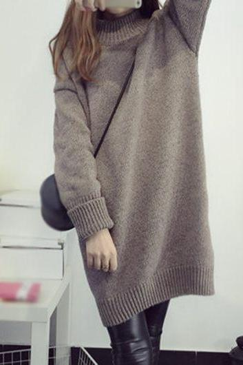 Fashion New Loose Knitted Turtleneck Long Sweater - Khaki