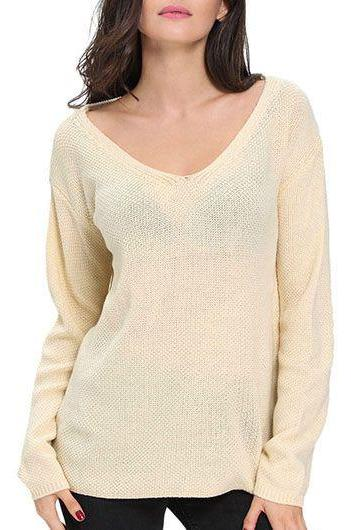 Beige Knitted Plunge V Long Sleeves Sweater