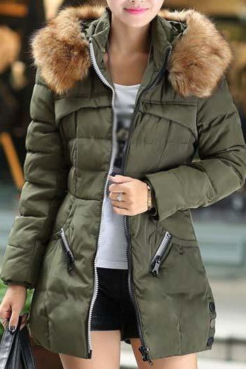 Fashion And Good Quality Woman Essential Long Sleeve Winter Coat with Zip