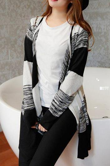 Causal Color Block Long Sleeve Black Cardigan