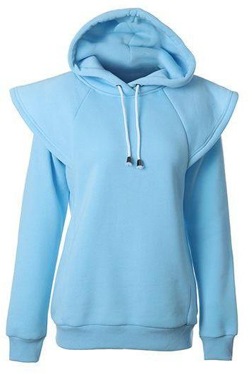 Fashion Hooded Collar Long Sleeve Sweatshirt - Blue