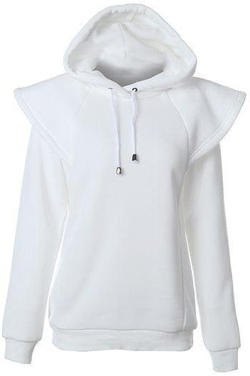 Fashion Hooded Collar Long Sleeve Sweatshirt - White