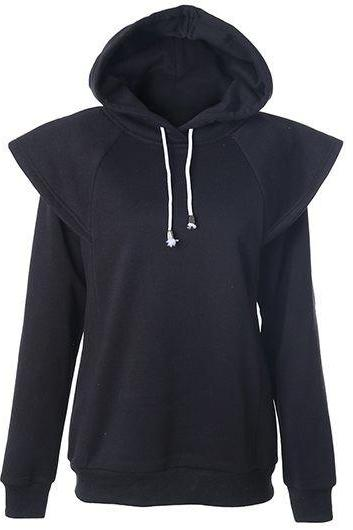 Fashion Hooded Collar Long Sleeve Sweatshirt - Black