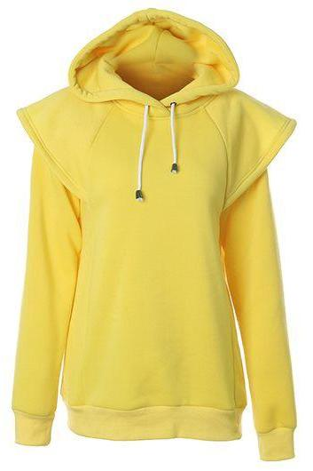 Fashion Hooded Collar Long Sleeve Sweatshirt - Yellow