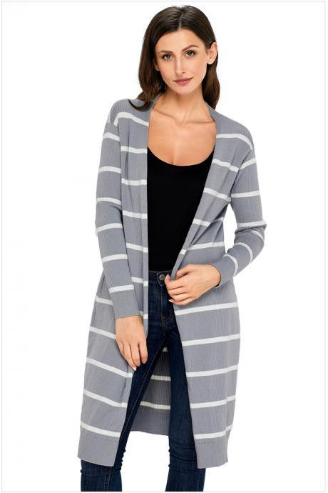 Grey Striped Long Sleeve Knitted Sweater Cardigan with Open Front