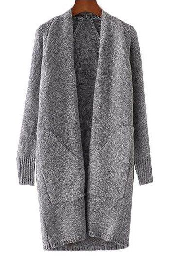 High Quality Grey Collarless Pocket Design Long Cardigan