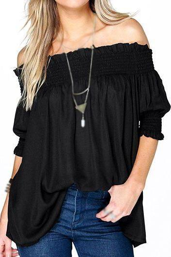 Women Off The Shoulder Black Loose Blouse