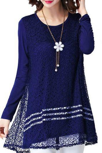 Women Navy Blue Lace Panel Round Neck Blouse